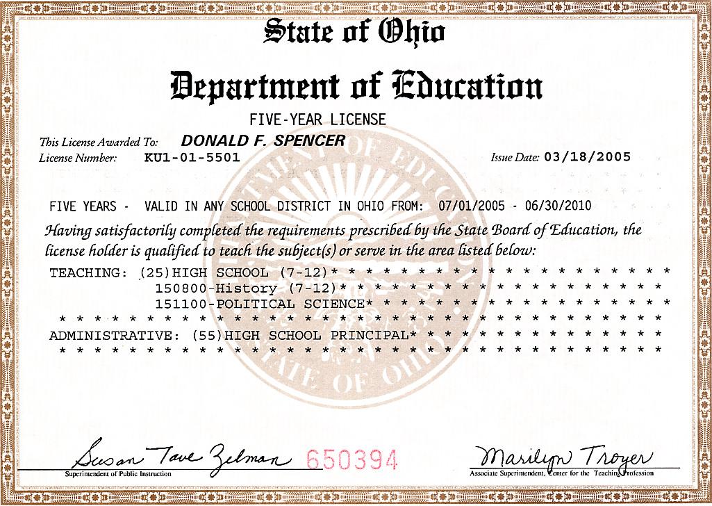 Ohio Certificate